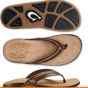 Olukai Men's Mola Leather Flip Flops Size 12